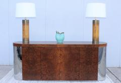 Art Deco Style Burl wood And Chrome Credenza - 1408799