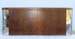 Art Deco Style Burl wood And Chrome Credenza - 1408801