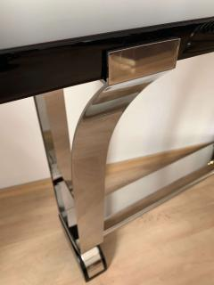 Art Deco Style Console Table Curved Stainless Stell and Black Lacquer - 1092482