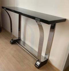 Art Deco Style Console Table Curved Stainless Stell and Black Lacquer - 1092491