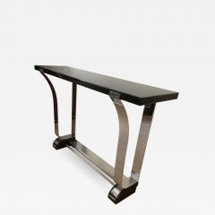 Art Deco Style Console Table Curved Stainless Stell and Black Lacquer - 1092511
