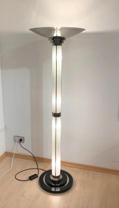Art Deco Style Floor lamp Chromed Metal and Glass - 1984678