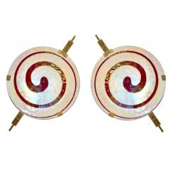 Art Deco Style Pair of Burgundy Ivory Murano Glass Wall Ceiling Lights - 508348