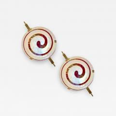 Art Deco Style Pair of Burgundy Ivory Murano Glass Wall Ceiling Lights - 508616
