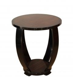 Art Deco Style Side Table Gueridon Macassar and Black Lacquer - 1071117
