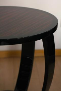 Art Deco Style Side Table Gueridon Macassar and Black Lacquer - 1071121