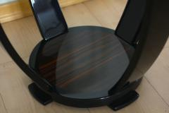Art Deco Style Side Table Gueridon Macassar and Black Lacquer - 1071122