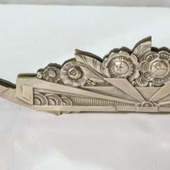 Art Deco Stylized Floral Cubist Silvered Bronze Beveled Octagonal Mirror - 2004831