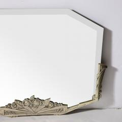 Art Deco Stylized Floral Cubist Silvered Bronze Beveled Octagonal Mirror - 2004832