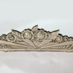 Art Deco Stylized Floral Cubist Silvered Bronze Beveled Octagonal Mirror - 2004834