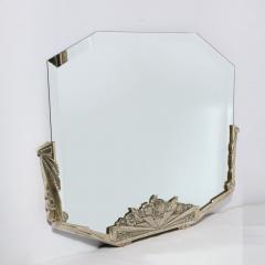 Art Deco Stylized Floral Cubist Silvered Bronze Beveled Octagonal Mirror - 2004847