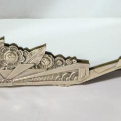 Art Deco Stylized Floral Cubist Silvered Bronze Beveled Octagonal Mirror - 2004848