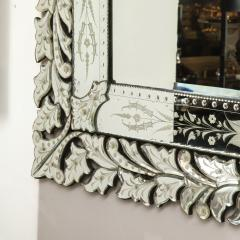 Art Deco Venetian Etched Beveled Mirror w Stylized Floral Motifs - 1949914