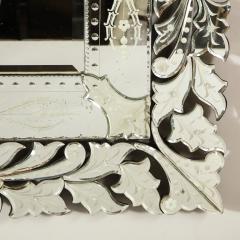 Art Deco Venetian Etched Beveled Mirror w Stylized Floral Motifs - 1949915