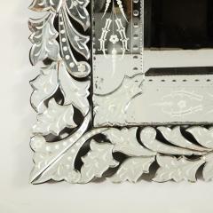 Art Deco Venetian Etched Beveled Mirror w Stylized Floral Motifs - 1949925