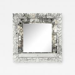 Art Deco Venetian Etched Beveled Mirror w Stylized Floral Motifs - 1953290