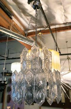 Art Deco Vintage Italian Chandelier w Etched Glass on Nickel Frame c 1960s - 2125524