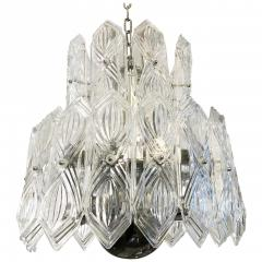 Art Deco Vintage Italian Chandelier w Etched Glass on Nickel Frame c 1960s - 2125525