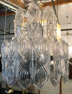 Art Deco Vintage Italian Chandelier w Etched Glass on Nickel Frame c 1960s - 2125528