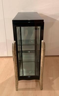 Art Deco Vitrine Three Sides Glass Black Lacquer and Silver France circa 1930 - 1961771