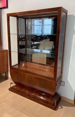 Art Deco Vitrine Walnut Veneer Three Sides Glassed France circa 1930 - 1481469