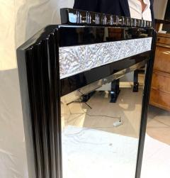 Art Deco Wall Mirror Black Lacquer and Silver Plated Leaf France circa 1930 - 1730215