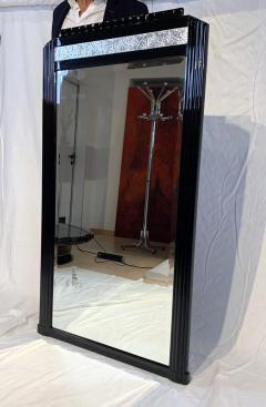 Art Deco Wall Mirror Black Lacquer and Silver Plated Leaf France circa 1930 - 1730233