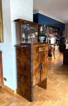 Art Deco Walnut Cocktail Dry Bar Cabinet Italy 1930s - 1783799