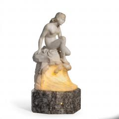 Art Deco alabaster lamp of a bather - 1173171