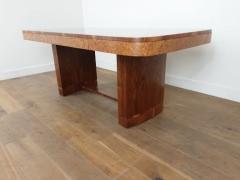 Art Deco karelian birch and walnut dining table - 1942899