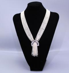 Art Deco pearl and Diamond Sautoir Necklace - 1028889