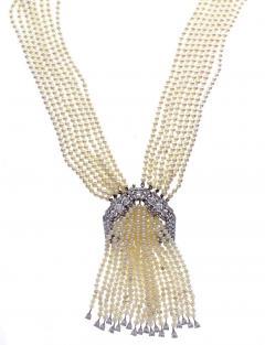 Art Deco pearl and Diamond Sautoir Necklace - 1028890
