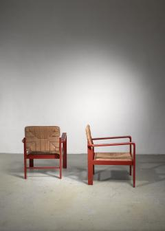 Art Deco set of two chairs with woven rope upholstery - 1449901