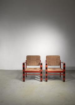Art Deco set of two chairs with woven rope upholstery - 1449903