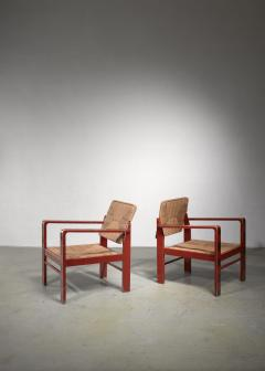 Art Deco set of two chairs with woven rope upholstery - 1449904