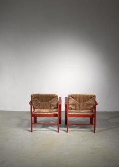 Art Deco set of two chairs with woven rope upholstery - 1449905