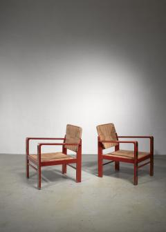 Art Deco set of two chairs with woven rope upholstery - 1449906