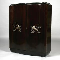 Art Deco shaped cabinet with silvered metal decoration  - 2037484