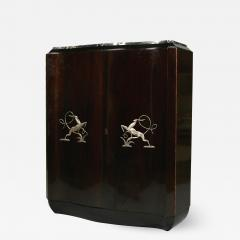 Art Deco shaped cabinet with silvered metal decoration  - 2038110