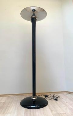 Art Deco style floor lamp Black Lacquer and Nickel - 1984698