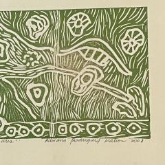 Art Green Snails Caracoles Nature Lithograph Adriana Rodriguez Matios 2008 - 2082209