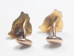 Art Nouveau 14 Karat Gold and Diamond Grotesque Mask Cuff Links - 963928
