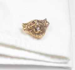 Art Nouveau 14 Karat Gold and Diamond Grotesque Mask Cuff Links - 963929