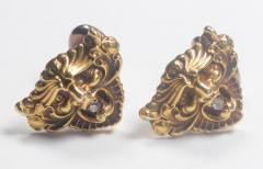 Art Nouveau 14 Karat Gold and Diamond Grotesque Mask Cuff Links - 963930