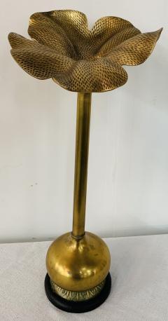 Art Nouveau Brass Flower Candleholder on Black Marble - 1639790