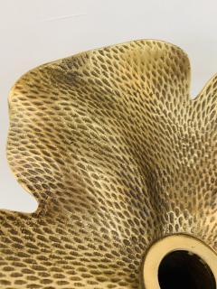 Art Nouveau Brass Flower Candleholder on Black Marble - 1639800