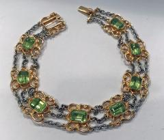 Art Nouveau Peridot Gold and Platinum Bracelet C 1910 - 1189353