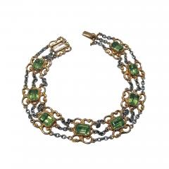 Art Nouveau Peridot Gold and Platinum Bracelet C 1910 - 1190703