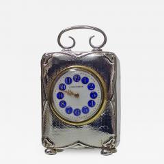 Art Nouveau Silver Carriage Clock Birmingham 1911 - 1056525
