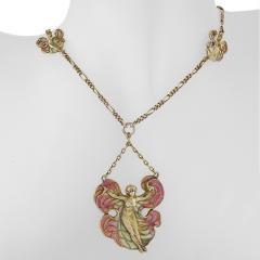 Art Nouveau Silver Gilt and Enamel Femme fleur Pendant Necklace - 717405